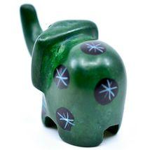 Tabaka Chigware Hand Carved Kisii Soapstone Miniature Green Elephant Figurine image 3