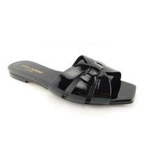 YSL Saint Laurent Size 6 TRIBUTE Black Patent Nu Pieds Slide Sandals Shoes 36 - $398.00