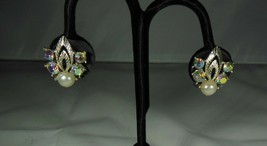 Aurora Borealis & Faux pearl earrings - $10.88