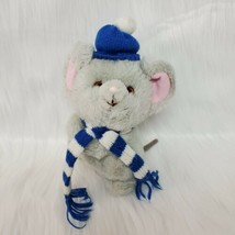 "9"" VTG Russ Rare Mikey Gray Mouse Hat Scarf 7583 Plush Stuffed Toy Korea... - $16.99"