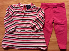 Girl's Size 9 M 6-9 Months 2 P Striped L/S Faded Glory Dress/ Top, Carte... - $14.00