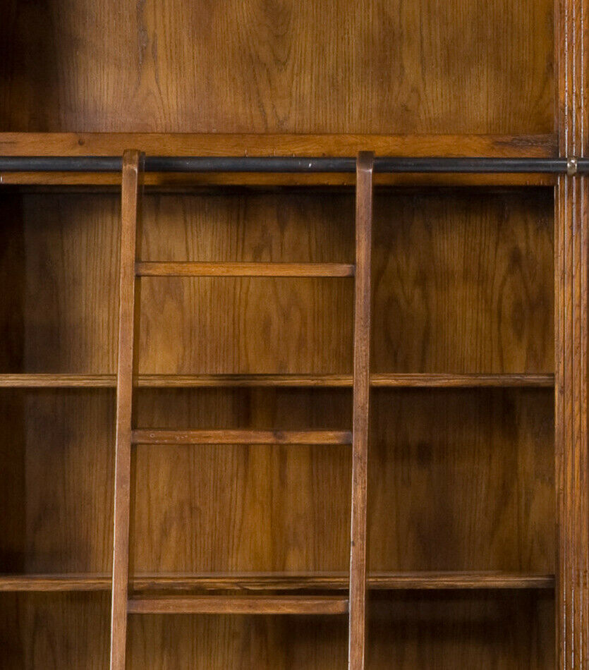 Magnificent Palace Bookcase Library Cabinet Solid Oak Wood w/Ladder,125'' x 98''