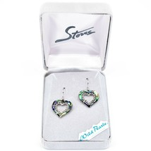 A.T. Storrs Wild Pearle Abalone Shell Pave Crystal Sparkle Heart Hook Earrings