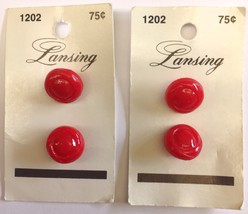 Lot 4 Lansing Buttons Red Size 9/16 inch Style 1202 Vintage 1970s 1980s ... - $5.99