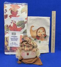 Fall Kitchen Decor Hand Towel Scarecrow Mason Jar Lid Paper Tablecloth L... - $10.88