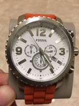 New Fossil Stylish Sport Gage Silver Tone W/ Orange Silicone Band Chronograph - $111.15