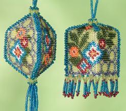 Floral Trellis Beaded Ornament Autumn 2013 cross stitch kit Mill Hill