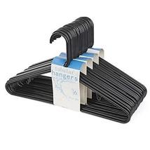HOUSE DAY Black Plastic Tubular Adult Hangers 16.5 Inch Light-Weight Plastic Han