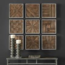 Set 9 Dimensional Wood Wall Collage Rustic 13x13 sq Plaques Panel Farmho... - $345.40
