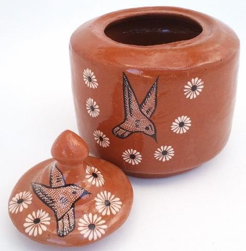 Rustic Mexican Hand Painted Terra Cotta Pottery Jar Hummingbird