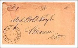 c1850 West Winsted CT Defunct Post Office (DPO) Cover - $9.95