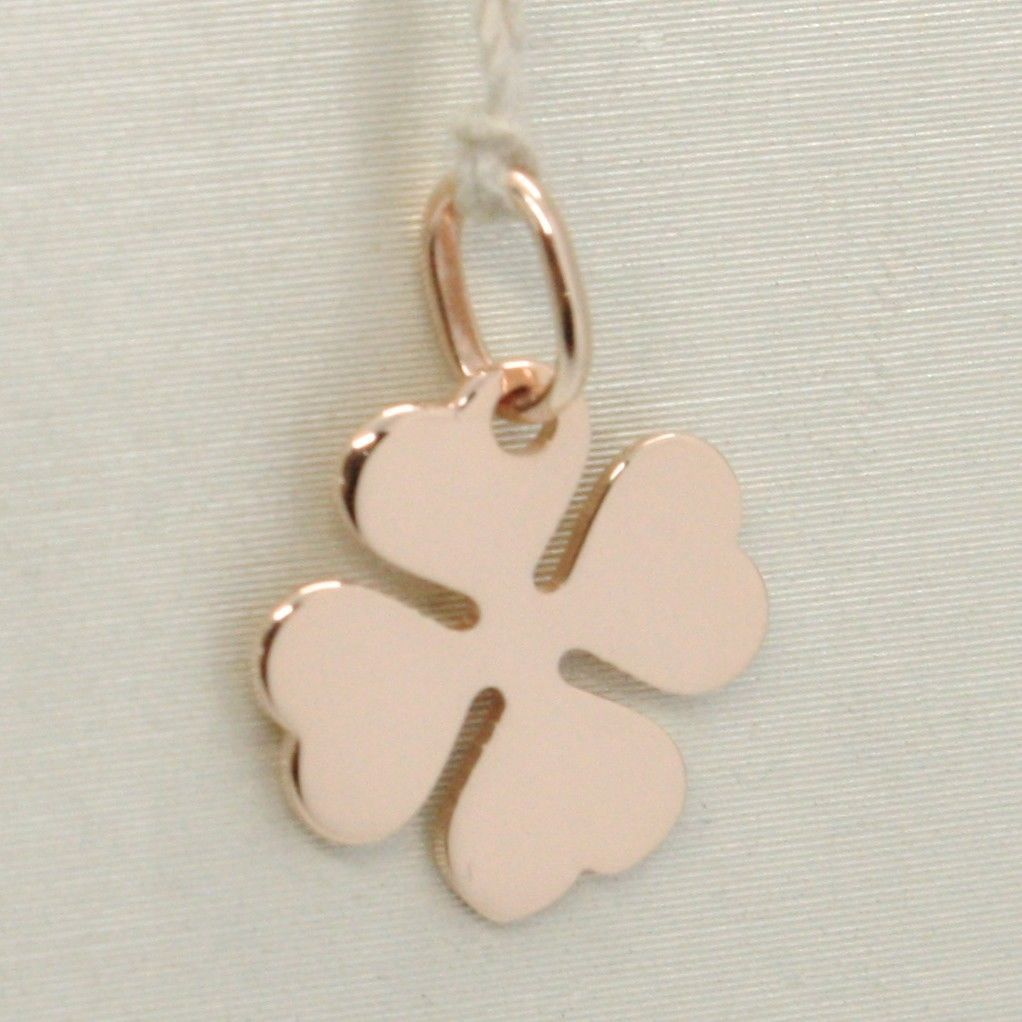 18K ROSE GOLD PENDANT CHARM 14 MM, FLAT LUCKY FOUR LEAF CLOVER, MADE IN ITALY