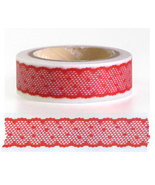 Japanese Washi Tape Roll- Red Lace Motif - $3.00