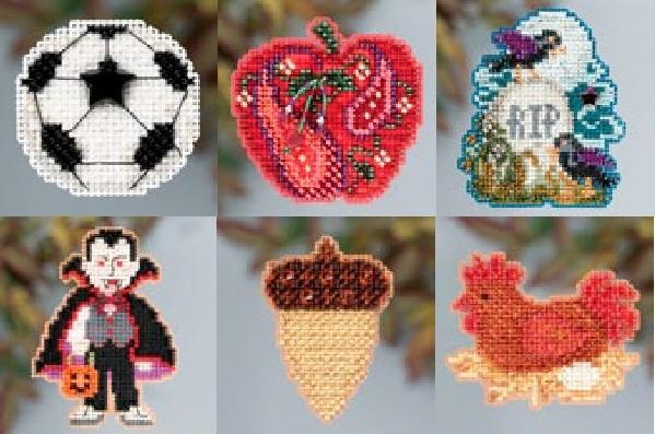 Jeweled Apple Autumn 2013 Seasonal ornament pin kit cross stitch Mill Hill