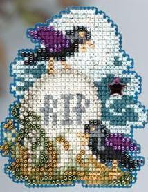 Tombstone Autumn 2013 Seasonal ornament pin kit cross stitch Mill Hill