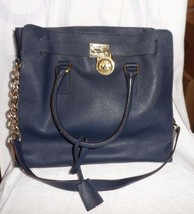MICHAEL KORS HAMILTON EAST WEST SAFFIANO LEATHER SATCHEL NAVY  (lot PS) - $125.00