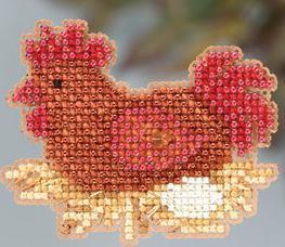 Chicken or the Egg Autumn 2013 Seasonal ornament pin kit cross stitch Mill Hill