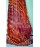Pure chiffon saree sari jaipuri lehraiya pearl work dress fabric craft d... - $38.61