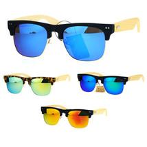 SA106 Real Bamboo Wood Arm Mirror Lens Hipster Half Rim Sunglasses - $12.95