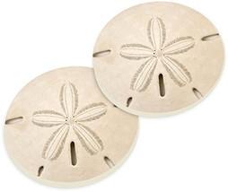 Sand Dollar Seashell Coastal Ceramic Car Coaster Pack Set of 2 - $11.46