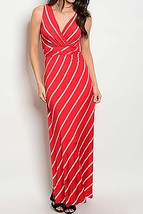 Red Striped Maxi Dress, Sleeveless V-Neck Striped Dress, Colbert Clothing, Gilli
