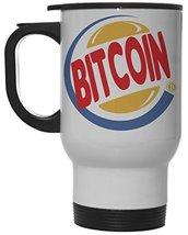 Funny Bitcoin King Burger Parody White 12 oz Hot/Cold Travel Mug - $19.75