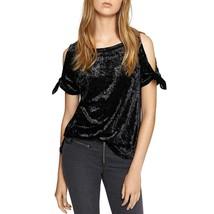 Sanctuary Womens Black Crushed Velvet Cold Shoulder Top Size XSmall & La... - €9,88 EUR