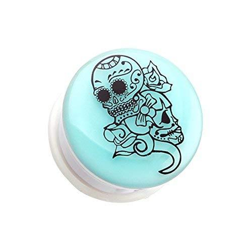 Primary image for Glow in the Dark Floral Sugar Skull Single Flared WildKlass Ear Gauge Plug (Sold