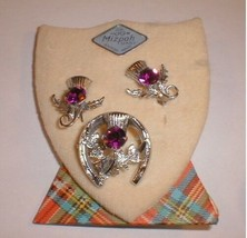 brooch Pin England Earring Jewelry Luck  Mizpah Amethyst - $38.00