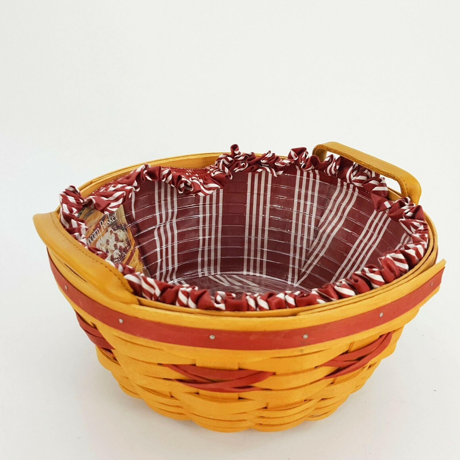 Longaberger 1999 Christmas Popcorn Basket w Protector & Red White Liner 15156 image 6