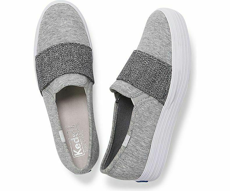 Keds WF58505 Women's Shoes Triple Bandeau Jersey Lt Gray, 8.5 Med