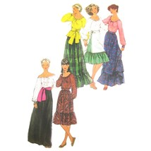 1970s Vtg Simplicity Sewing Pattern 8244 Misses Peasant Blouse Maxi Skir... - $8.95