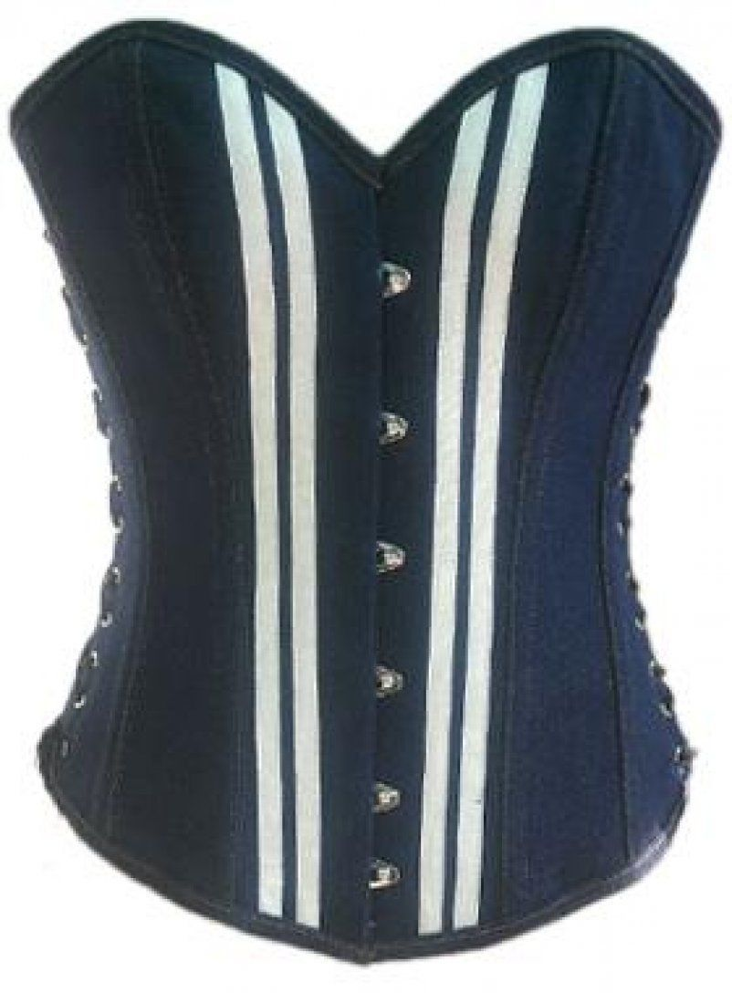 Blue Denim White Strips Black Lace Gothic Waist Training Bustier Overbust Corset