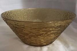 "Vintage Amber Soreno Depression Anchor Hocking Glass Large Chip Bowl 11"" - $28.04"