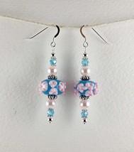 Lampwork Earrings, Handmade Blue Pink Glass Bead Dangle Drop Bumpy Earrings - $18.00