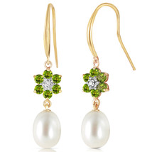 9.01 Carat 14K Solid Gold Fish Hook Earrings Diamond, Peridot pearl - $235.82