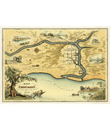 Pictorial Map of Chicago 1833 Vintage History Wall Art Poster Print Decor - $12.87+