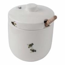 Ceramic Honey Pot with Wooden Dipper Watercolor Bee Motif - $29.65
