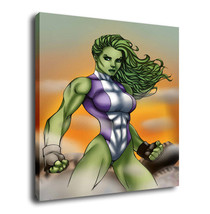 "Cartoon Oil Painting Print On Canvas Modern Decor Wall Art"" She Hulk"" Frame - $12.86+"