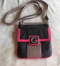 Guess Black/Pink/Brown Leather Cross-body Handbag - $35.50