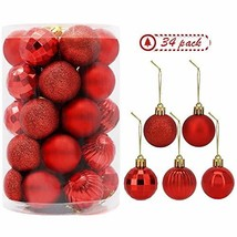 """34 PC Christmas 1.5"""" Ball Ornaments. 5 Assorted Style, Small Shatterproo... - $12.73"""