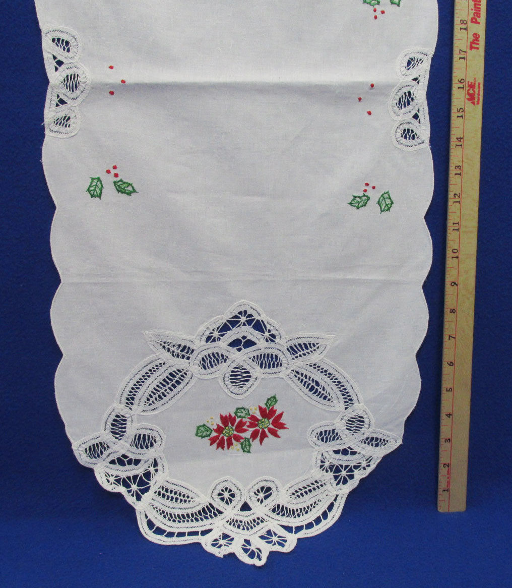 Primary image for Cloth Fabric Table Runner Christmas Holiday Red Poinsettia Embroidered Cut Out
