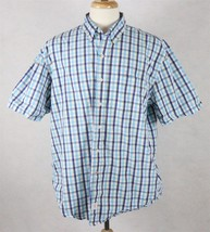IZOD Mens Short Sleeve Check Print Shirt Blue Yellow White Size XL - $16.82