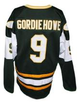 Gordie Howe #9 New England Whalers Wha Retro Hockey Jersey Dark Green Any Size image 5