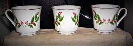 """Set of 3 vintage R.H. Macy's """"All The Trimmings"""" Christmas tea cups - $18.00"""