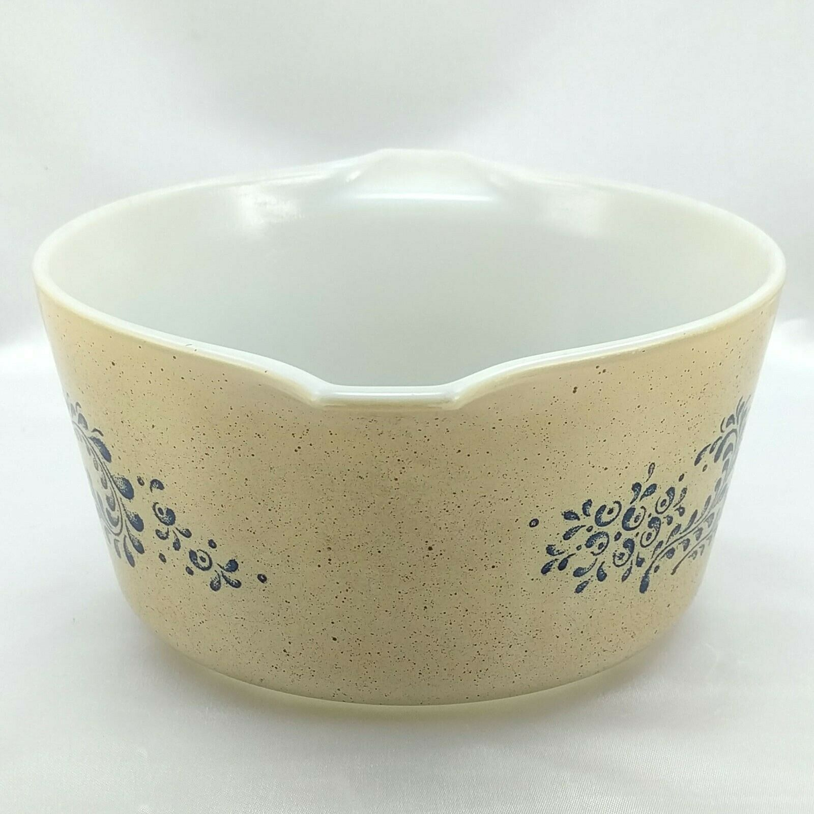 Pyrex 473 Homestead Blue Floral Speckled Vintage Baking Serving Casserole Dish image 2