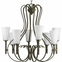 Antique Bronze Opal etched glass 8 Light Chandelier P4469-20 - $530.67