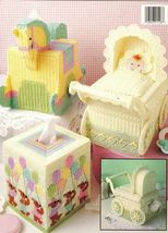 Plastic Canvas Baby Carriage Rocking Horse Lamb Bears Tissue Box Cover P... - $11.99