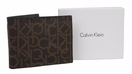 NEW CALVIN KLEIN MEN'S PREMIUM CLASSIC LEATHER BILLFOLD WALLET BROWN 7954496