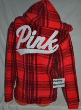 Victoria's Secret PINK Red Black Plaid Polar Fleece Campus Pullover Hood... - $96.79